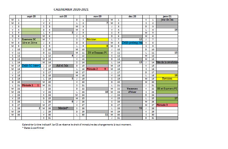 Calendrier Vacances Universitaires 2021 ESSAI   Calendrier Universitaire 2020 2021